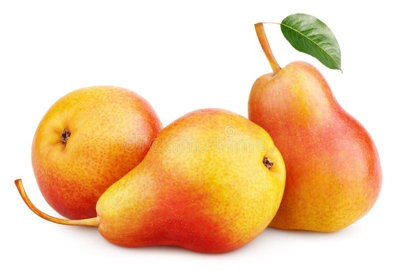 La pera gialla rossa tre fruttifica con la foglia verde isolata su bianco fotografia stock libera da diritti