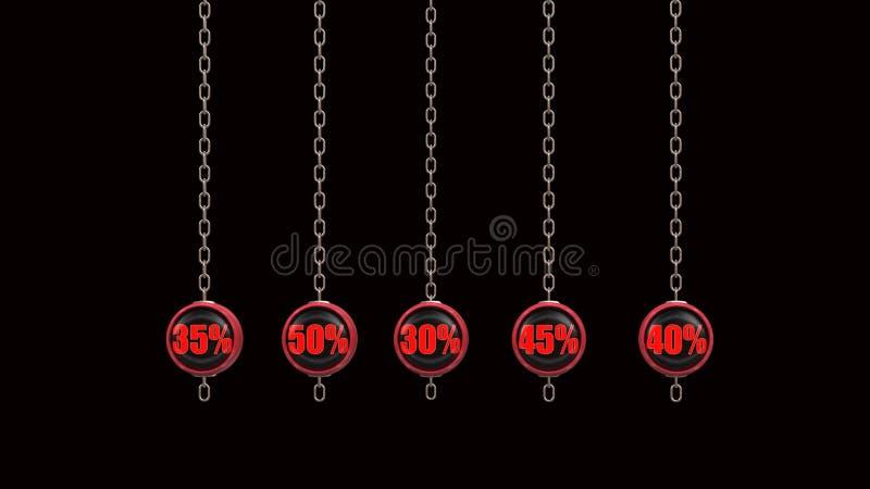 La percentuale numera la serie 3d rende illustrazione vettoriale