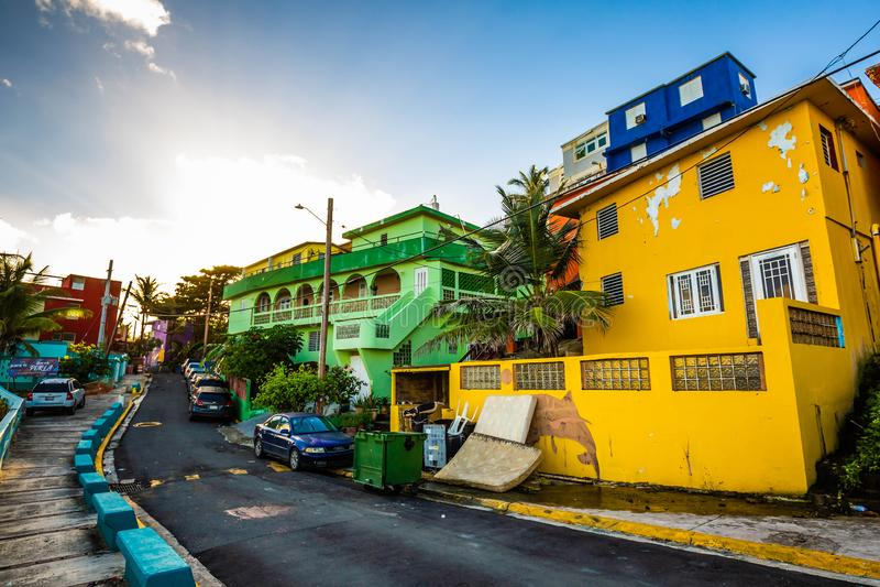 La Perla district in Old San Juan at sunrise stock images