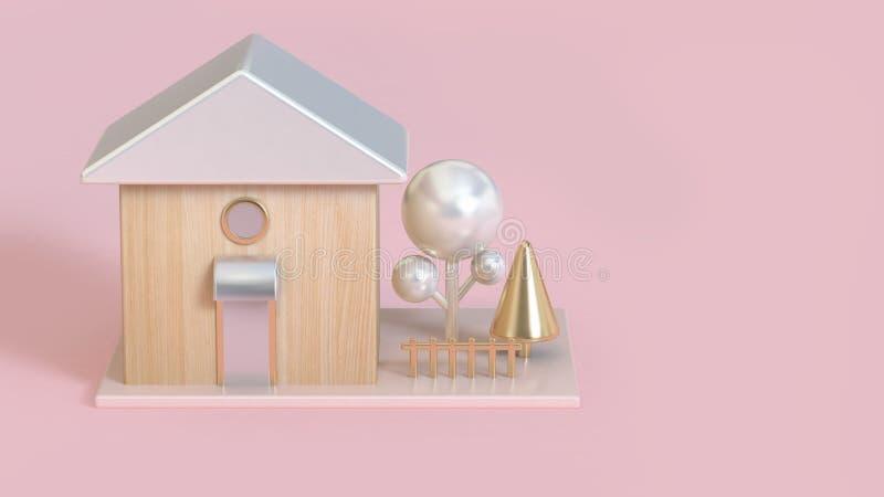 la perla blanca de los tejados de la casa de madera del extracto 3d el árbol metálico y del oro 3d rinde concepto del edificio- ilustración del vector