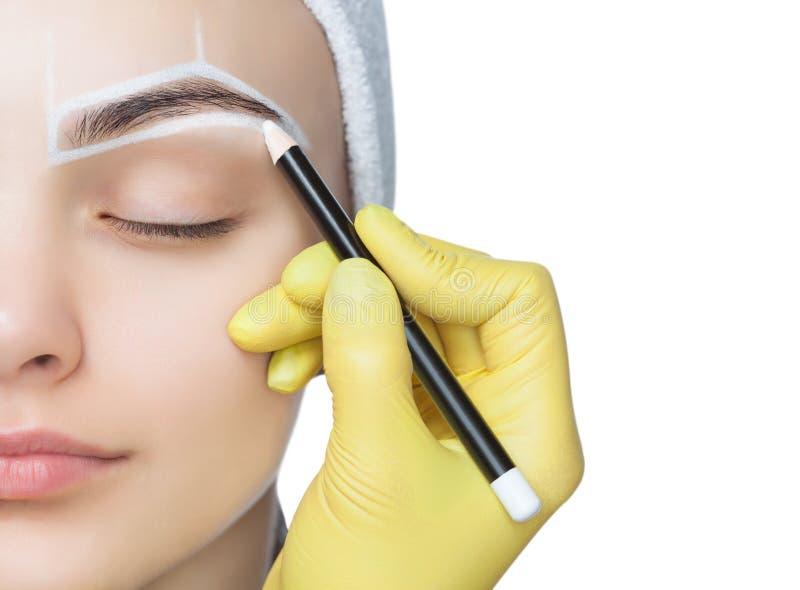 La permanente compensa las cejas de la mujer hermosa con las frentes gruesas en salón de belleza foto de archivo libre de regalías