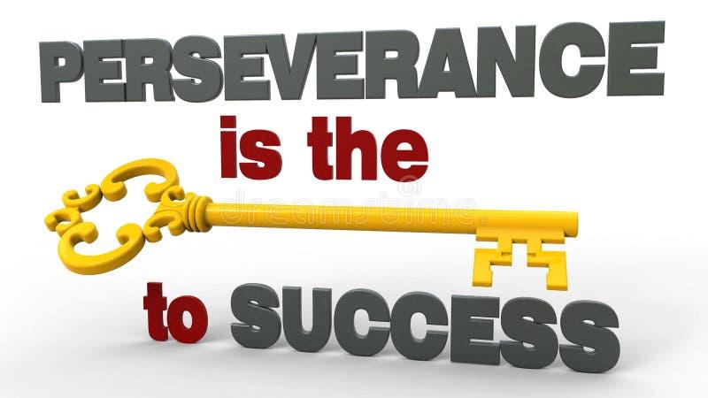 La perseverencia es la llave al éxito stock de ilustración