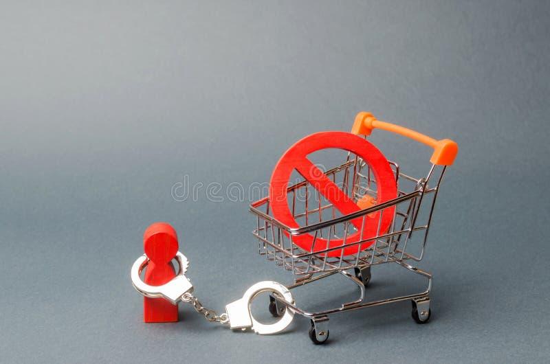 la persona è ammanettata ad un simbolo NO su un carretto del supermercato Una persona è limitata dalle leggi, dalle regole e dall immagine stock