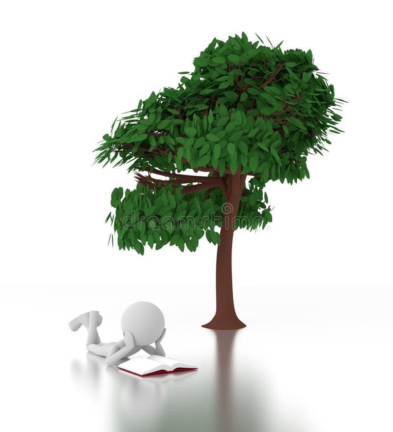 la persona 3d lee un libro bajo un árbol libre illustration