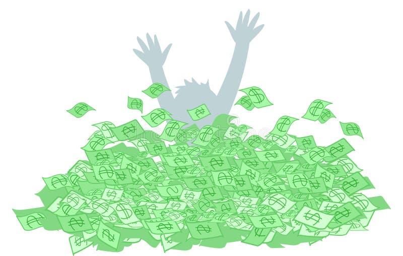 La persona annega nei contanti dei soldi fotografia stock libera da diritti