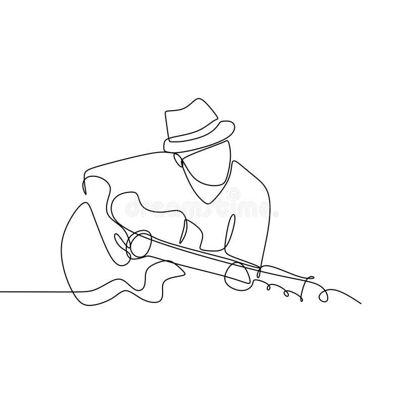 La persona canta una canción con línea continua diseño minimalista de la guitarra acústica del jazz la una del ejemplo del vector stock de ilustración