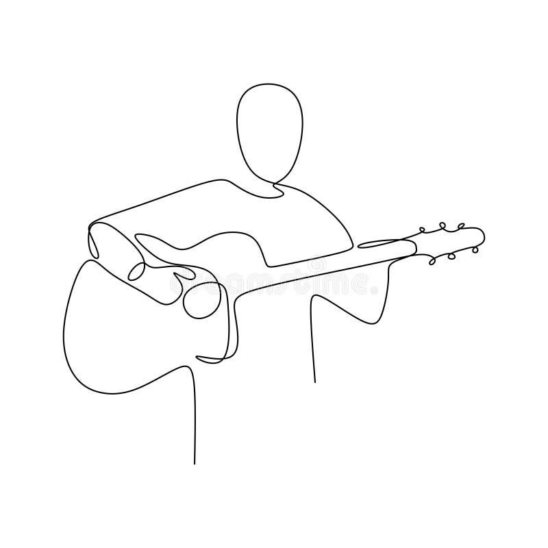 La persona canta una canción con línea continua diseño minimalista de la guitarra clásica acústica la una del ejemplo del vector  libre illustration