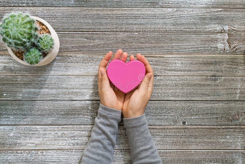 La persona che tiene il cuore ha modellato la scatola in sue mani fotografie stock