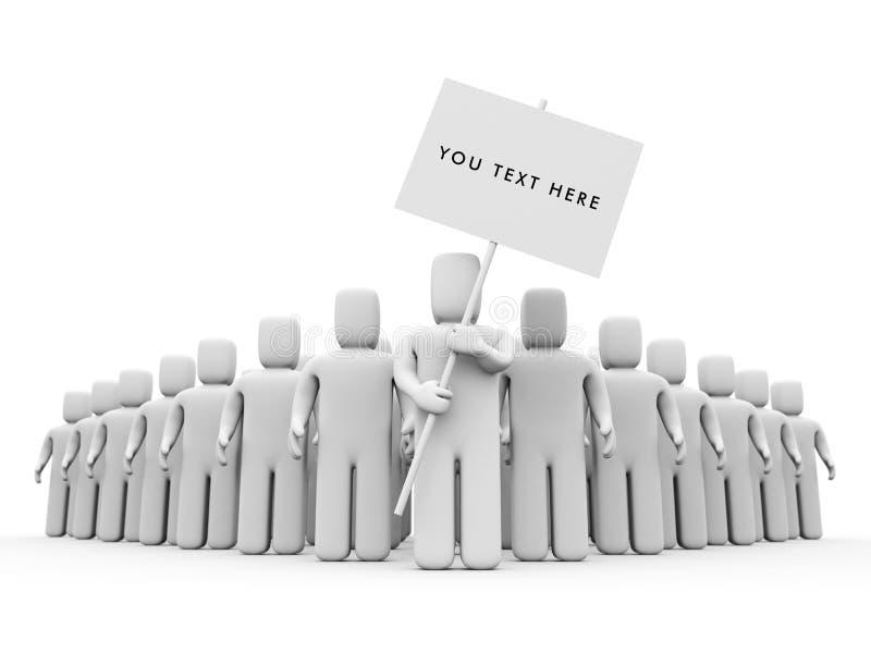 La persona con il manifesto. illustrazione vettoriale