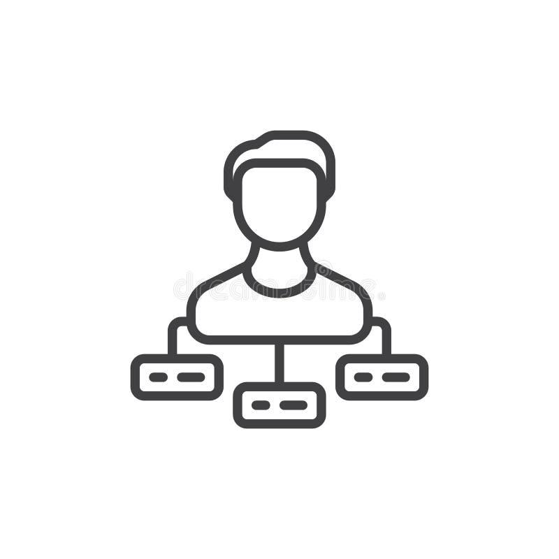 La persona con le mansioni allinea l'icona, segno di vettore del profilo illustrazione vettoriale
