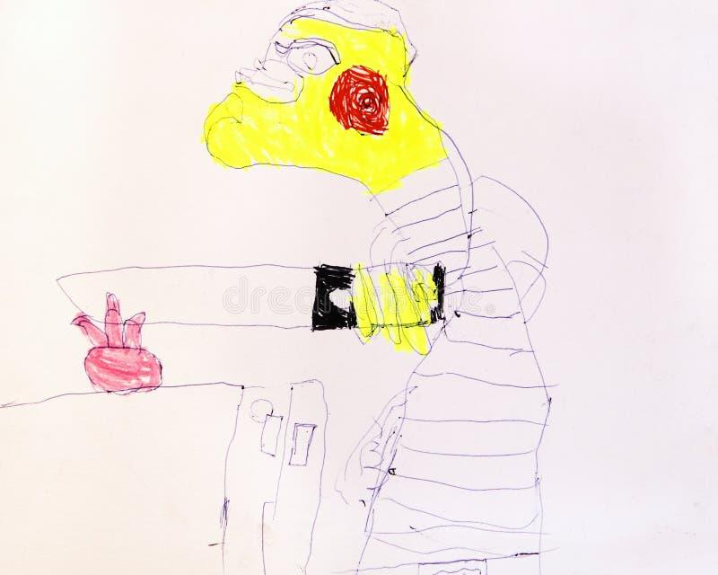 La persona cortó con el cuchillo, dibujo infantil del miedo stock de ilustración