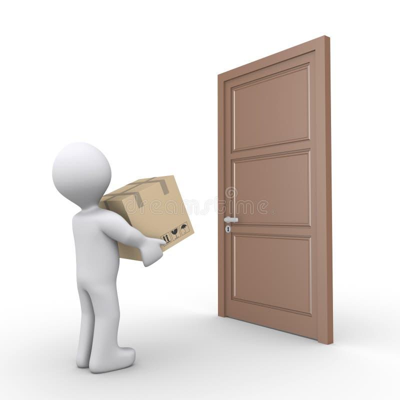 la persona 3d consegna un pacchetto illustrazione vettoriale