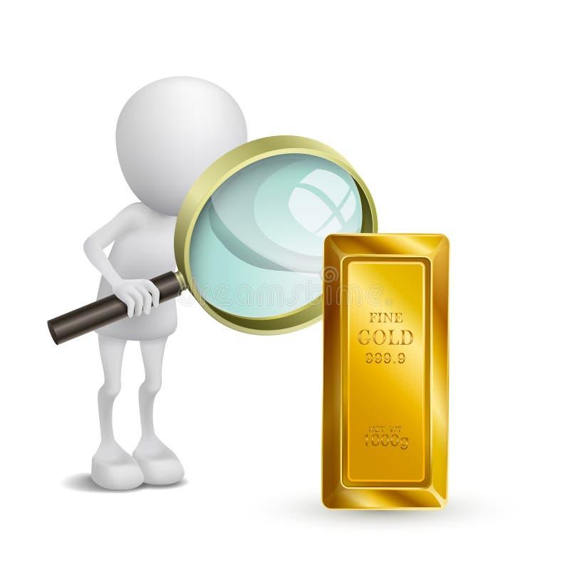 la persona 3d sta guardando l'oro con una lente d'ingrandimento illustrazione di stock
