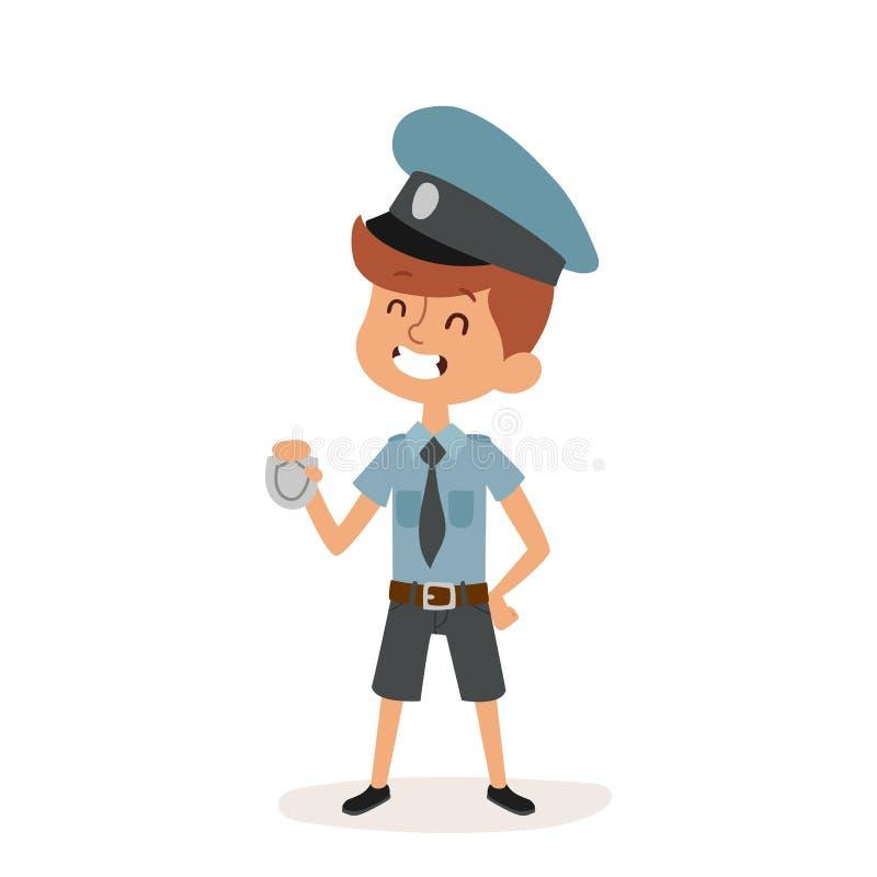 La persona del personaggio dei cartoni animati del cappuccio del ragazzo del poliziotto e del poliziotto delle mani del distintiv illustrazione di stock