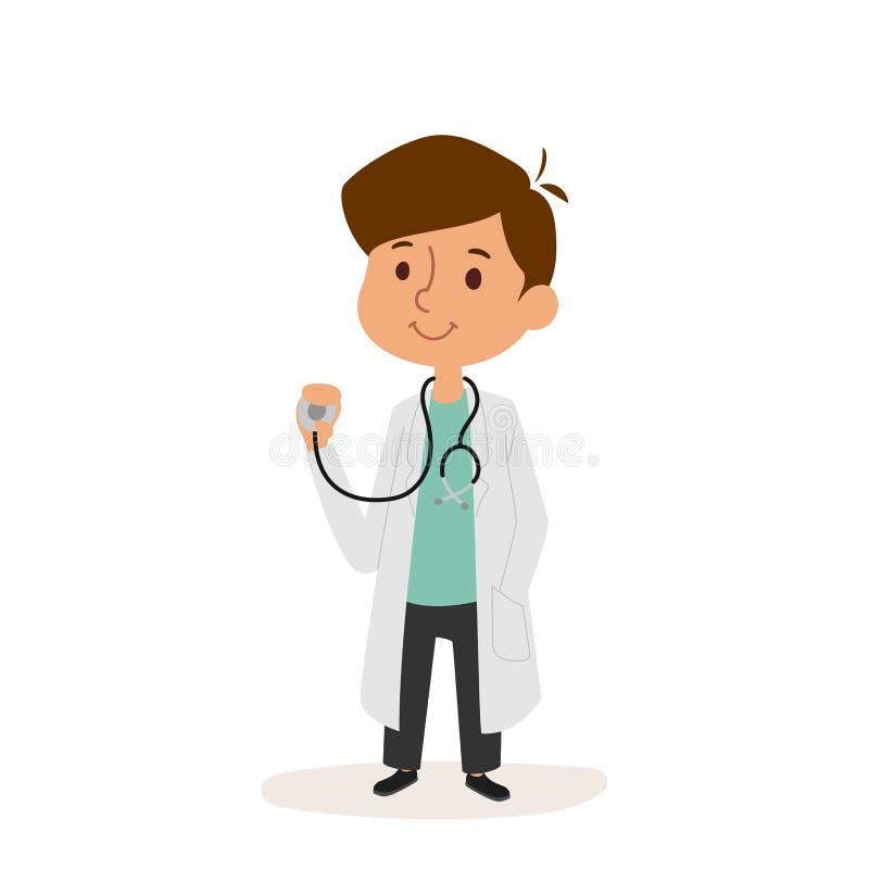 La persona del personaggio dei cartoni animati di medico sul lavoratore bianco dell'uniforme di professione di vettore del fondo  illustrazione vettoriale