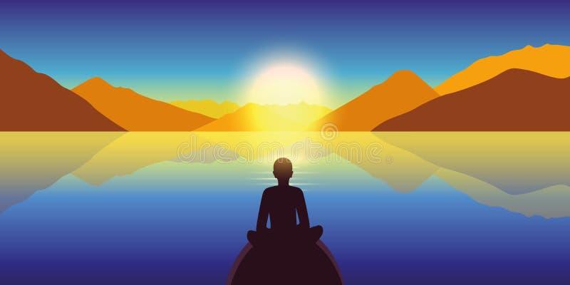 La persona disfruta de paisaje del otoño en un mar tranquilo y de Mountain View en la puesta del sol colorida ilustración del vector