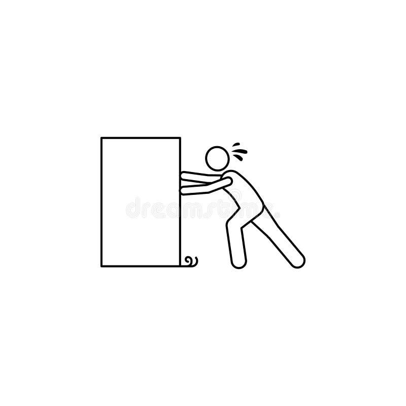 la persona empuja el icono duro de la caja El elemento del hombre lleva un ejemplo de la caja Icono superior del diseño gráfico d ilustración del vector