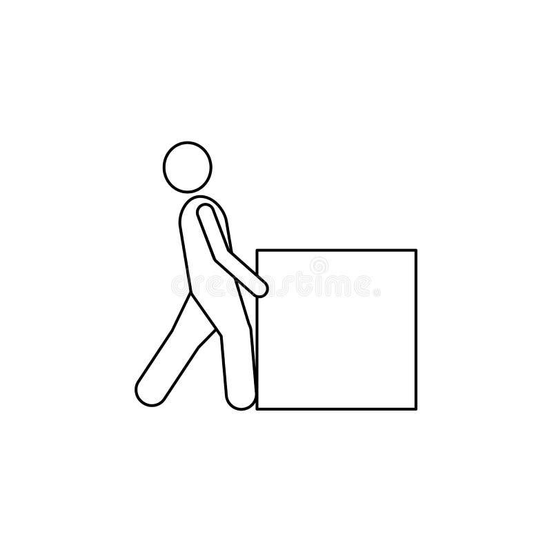la persona empuja el icono duro de la caja El elemento del hombre lleva un ejemplo de la caja Icono superior del diseño gráfico d stock de ilustración