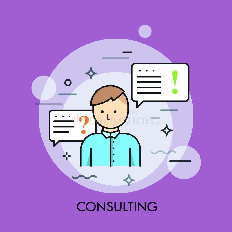 La persona en camisa o encargado azul y el discurso burbujean con la pregunta y las marcas de exclamación Servicio de la consulto libre illustration
