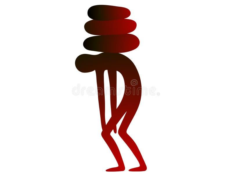 La persona enferma cambia apenas las piernas dobladas bajo el peso de la enfermedad ilustración del vector