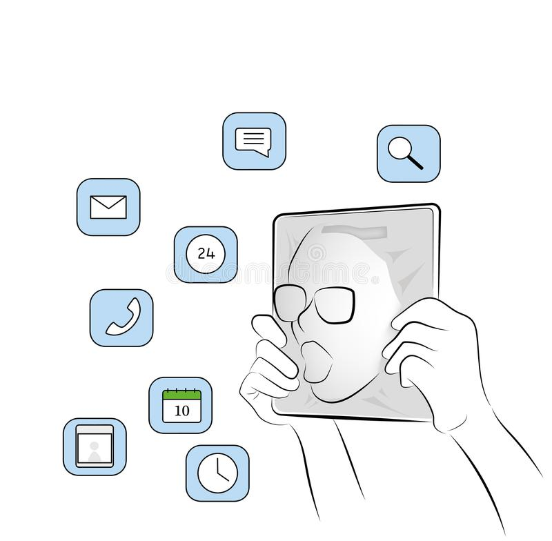 La persona entra en la tableta sumergido en el mundo de Internet y de las redes sociales Ilustración del vector libre illustration