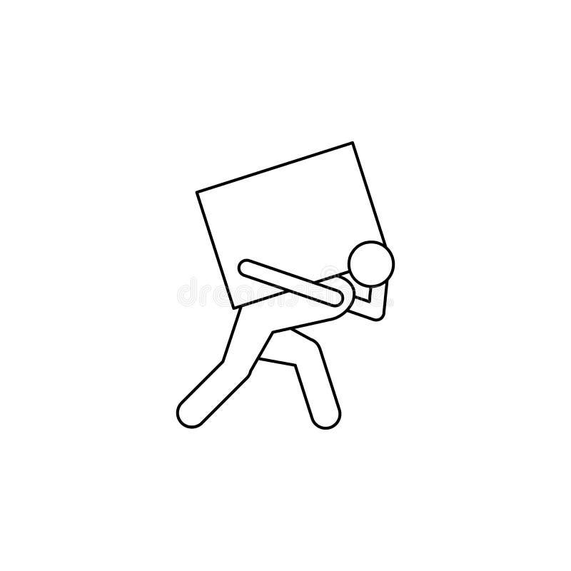 la persona es asidua en la suya parte posterior que lleva un icono de la caja El elemento del hombre lleva un ejemplo de la caja  stock de ilustración