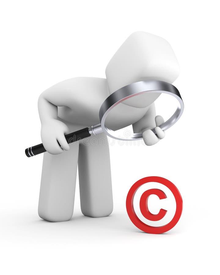 La persona esamina il segno del copyright illustrazione di stock