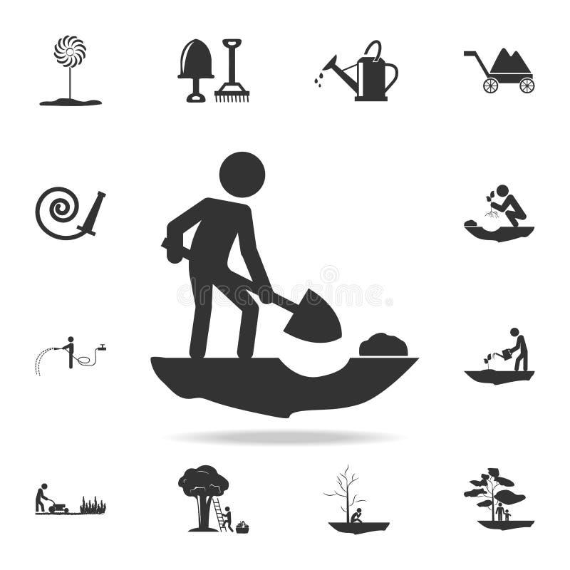 la persona está cavando el icono Sistema detallado de utensilios de jardinería y de iconos de la agricultura Diseño gráfico de la ilustración del vector