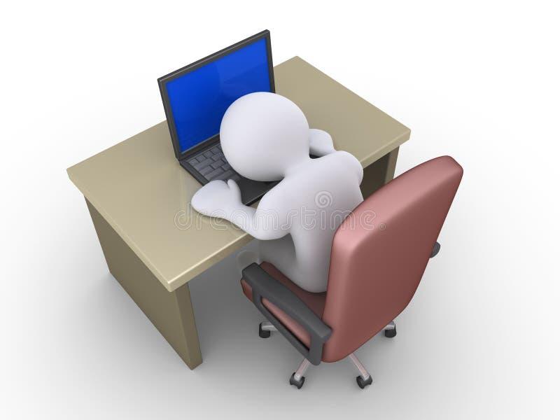 La persona está durmiendo en el ordenador portátil ilustración del vector