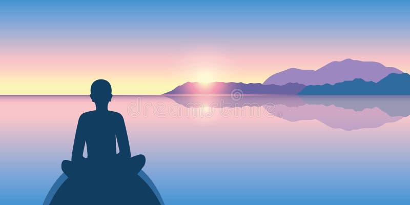 La persona gode del silenzio su un mare calmo all'alba illustrazione di stock