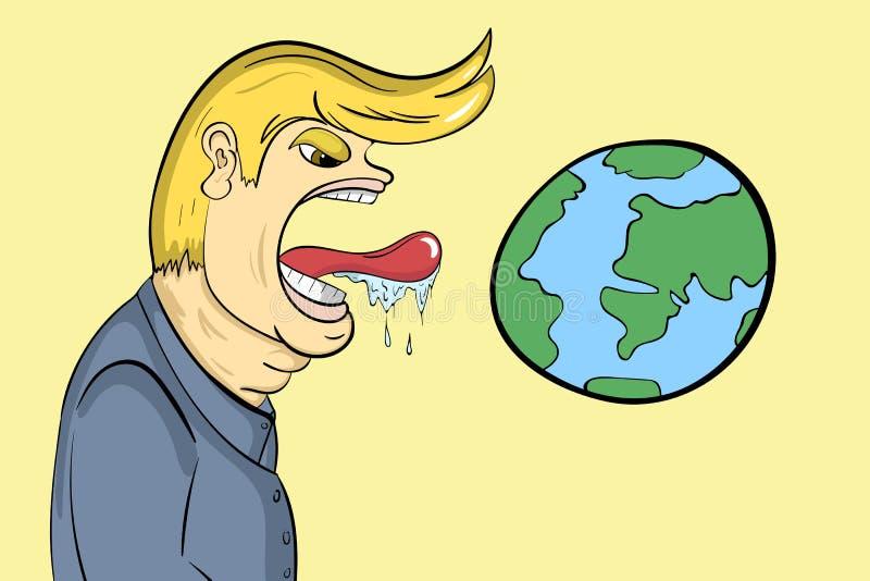 La persona lecca il pianeta royalty illustrazione gratis