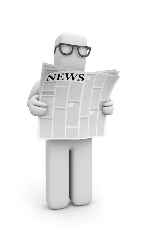 La persona leyó el periódico stock de ilustración