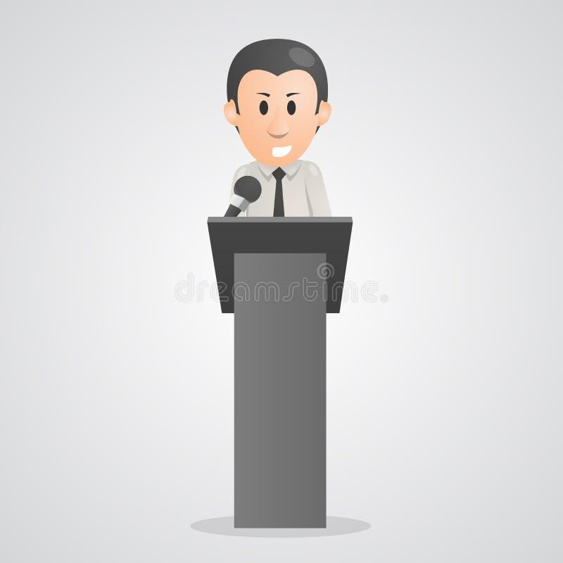 La persona parla nel podio del microfono illustrazione vettoriale
