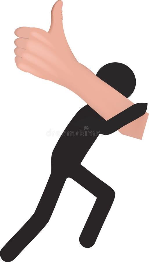 La persona pequeña y negra lleva la mano con el pulgar para arriba stock de ilustración