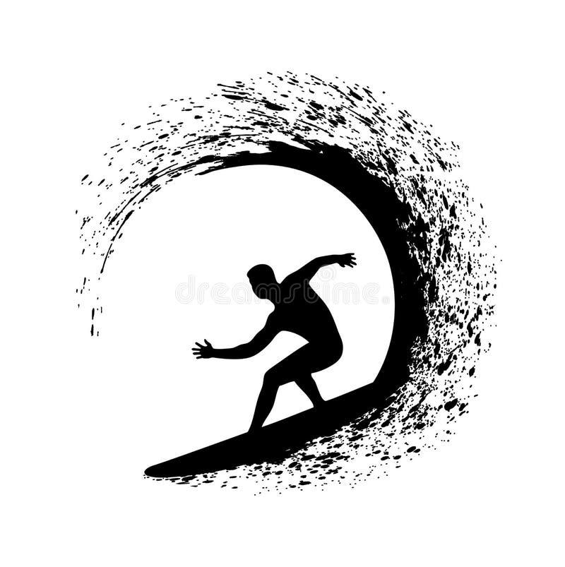 La persona que practica surf encendido agita un ejemplo en un fondo blanco libre illustration