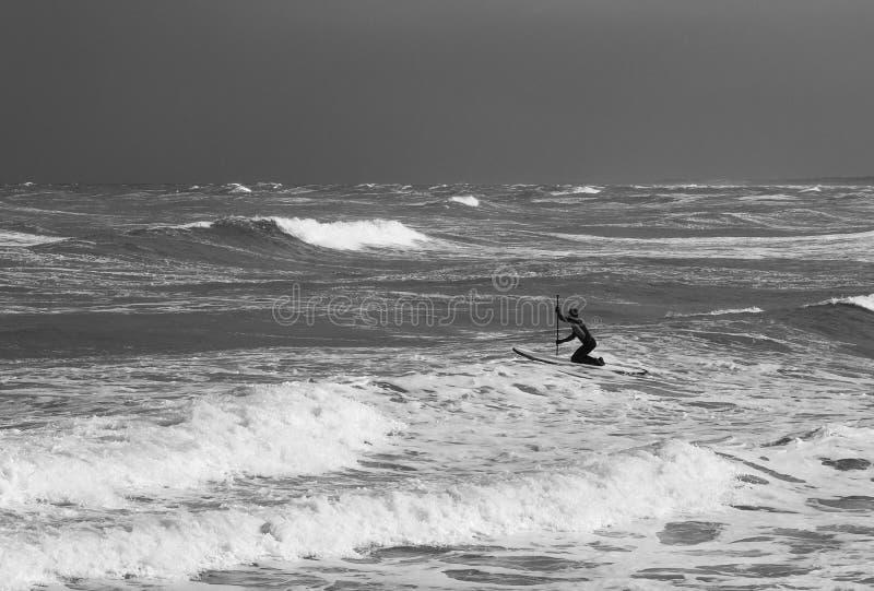 La persona que practica surf se bate hacia fuera a las ondas fotografía de archivo