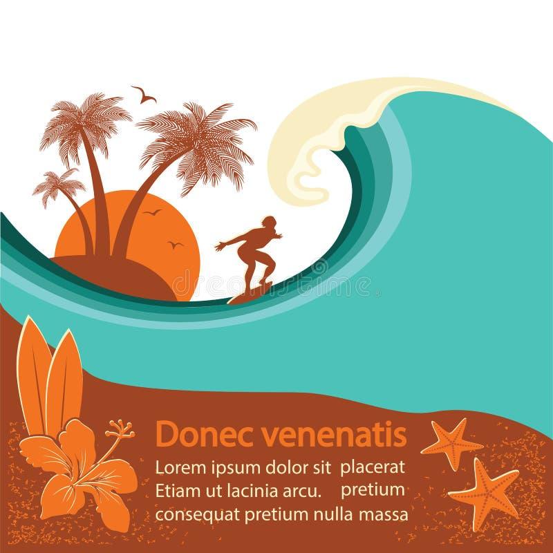 La persona que practica surf y el mar agitan la isla tropical libre illustration