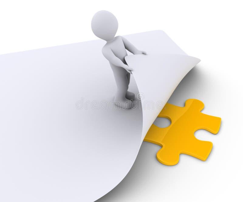 La persona scopre un pezzo di puzzle sotto una carta illustrazione di stock