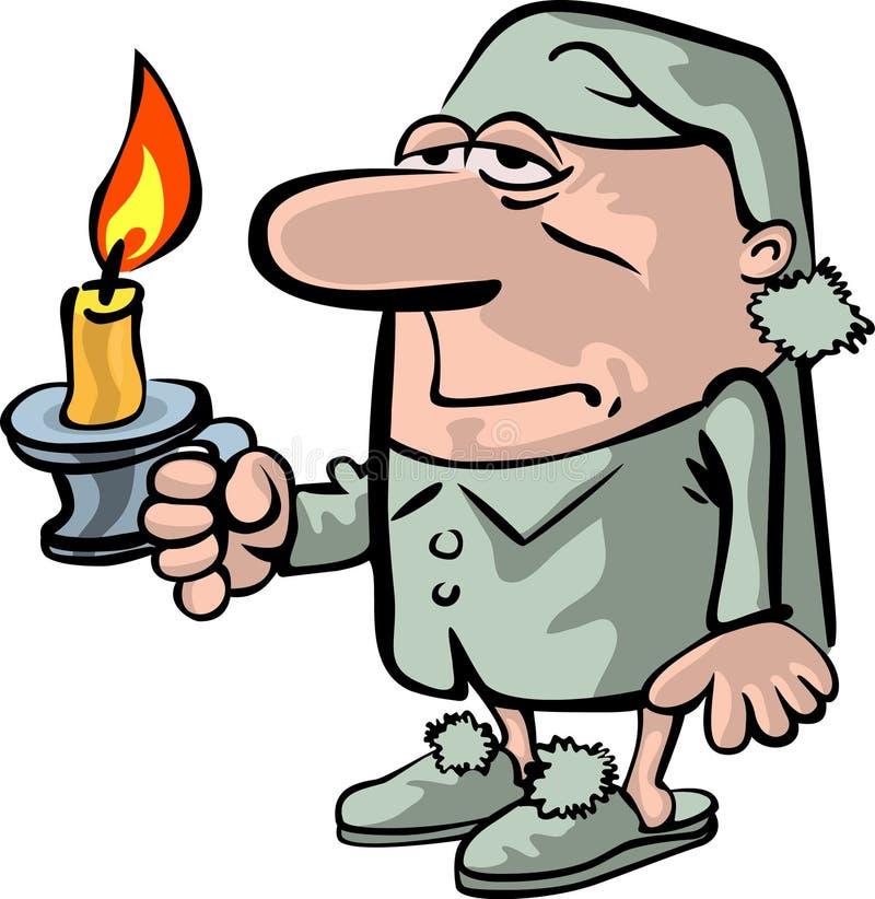 La persona sonnolenta con una candela royalty illustrazione gratis