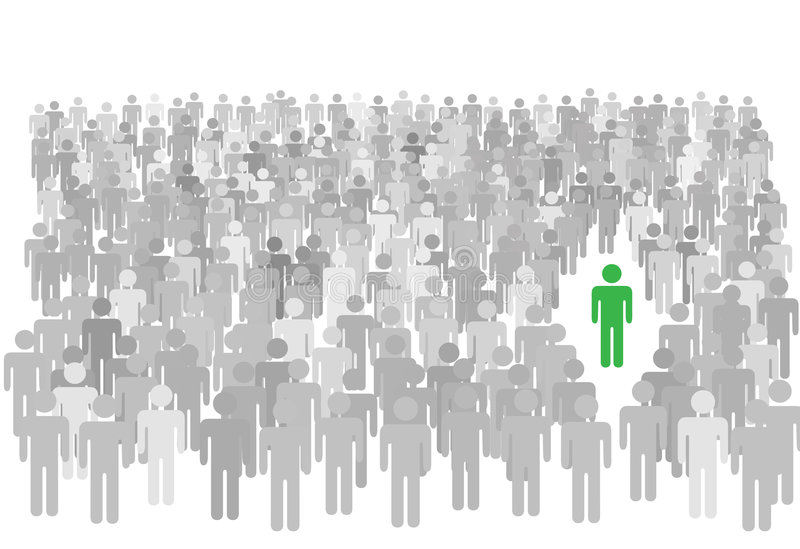 La persona specifica si leva in piedi fuori la grande folla della gente illustrazione vettoriale
