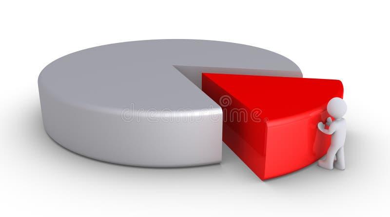 La persona sta completando un diagramma a torta illustrazione di stock