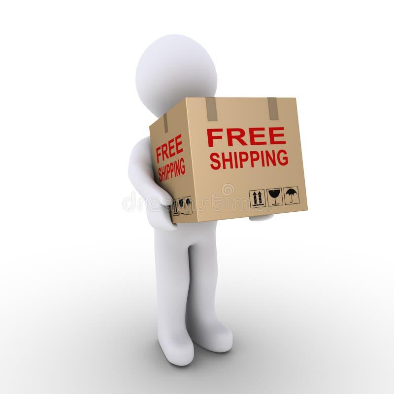 La persona sta spedendo gratis un contenitore di cartone illustrazione vettoriale