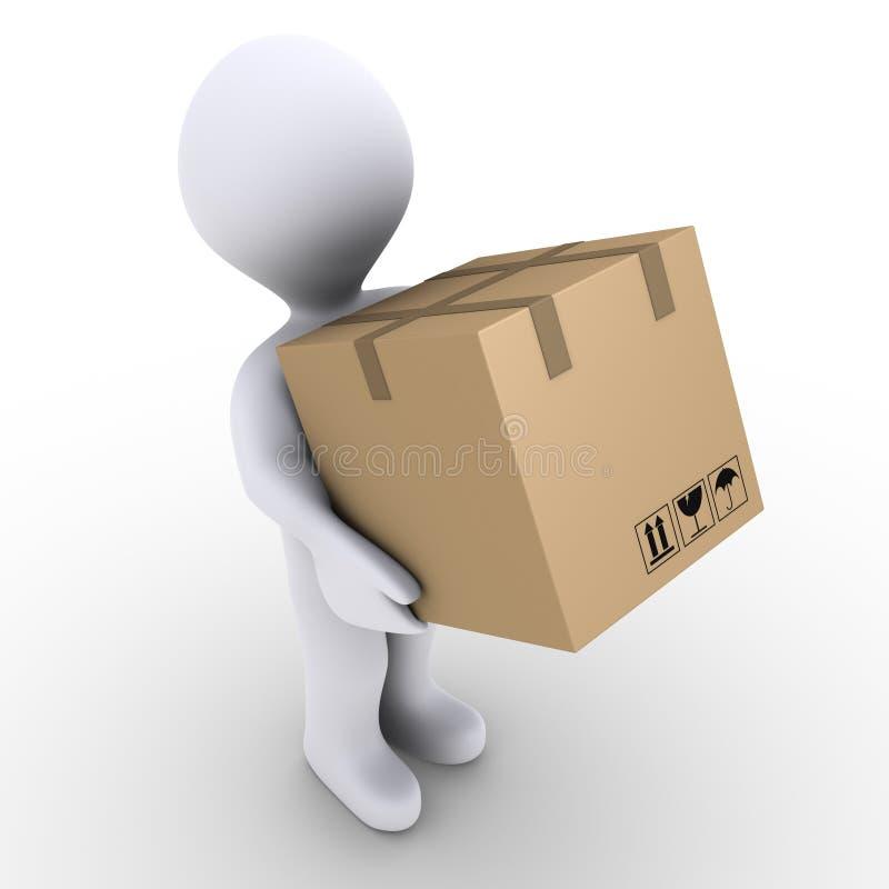 La persona trasporta il contenitore di scatola illustrazione vettoriale