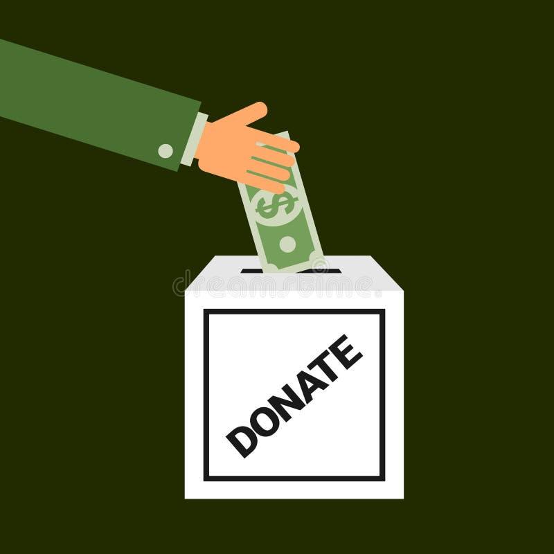 La personne avec la main caucasienne est gifting et donnante le billet de banque du dollar US dans la boîte de donation illustration stock