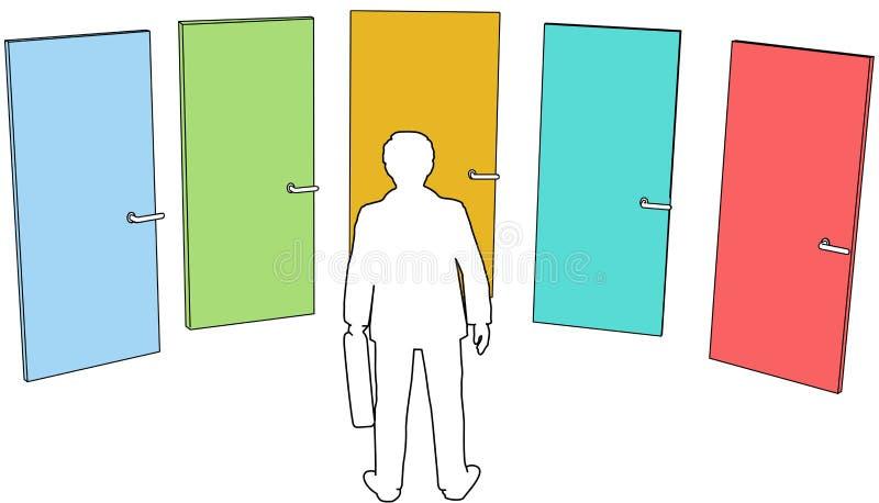 La personne d'affaires choisissent la décision de choix de trappes illustration libre de droits