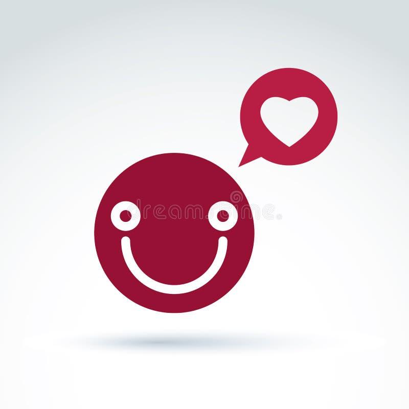La personne heureuse de sourire dans l'amour, bulle rouge de la parole avec aimer entendent illustration de vecteur