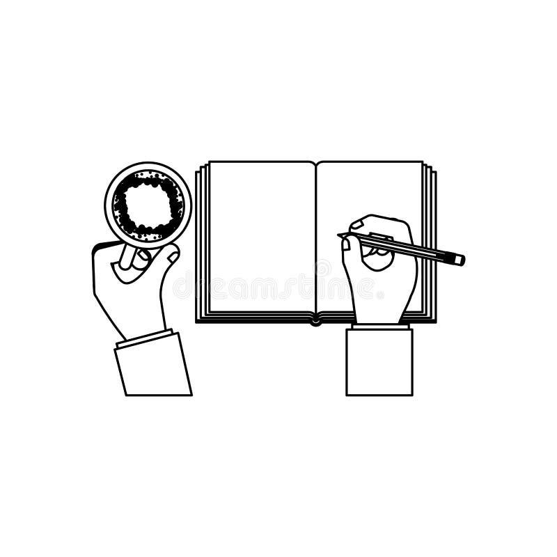 La personne remet l'écriture avec du café de tasse illustration de vecteur