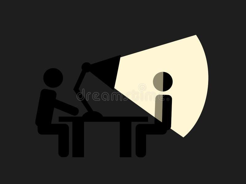 La personne suspecte est illuminée et allumée par la lumière de la lampe illustration libre de droits