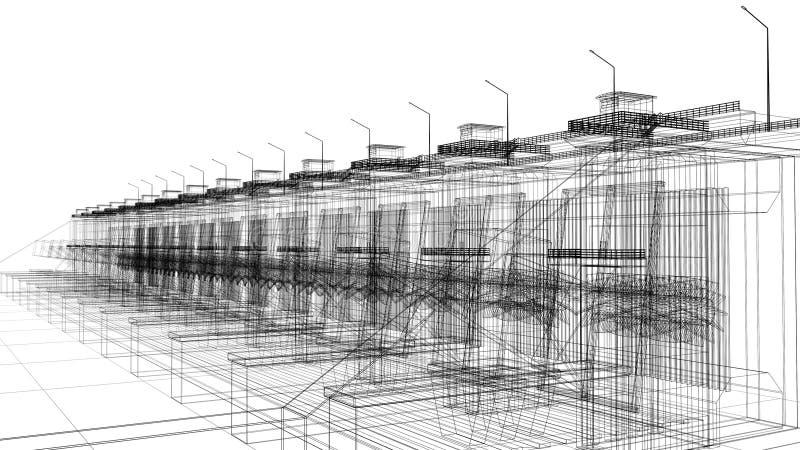 La perspectiva 3D rinde de wireframe del edificio ilustración del vector