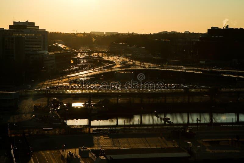 La perspectiva sobre la ciudad durante la tarde imagen de archivo libre de regalías